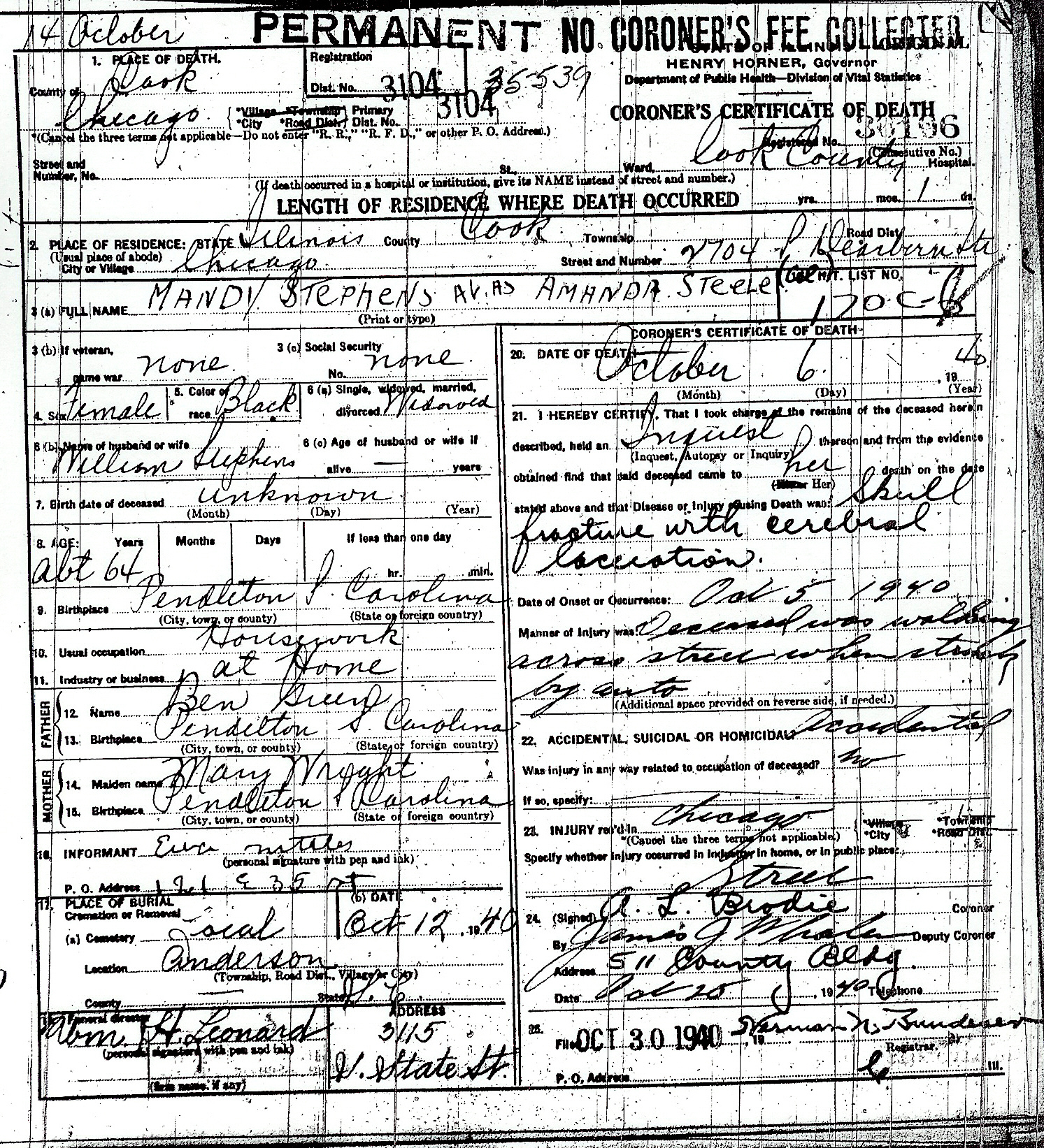 Ford County Illinois Death Records